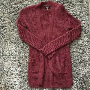 Mossimo Chunky Knit Maroon Cardigan with Pockets